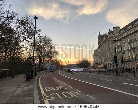 LONDON - NOVEMBER 30: Facing West along Piccadilly close to Hyde Park Corner on November 30, 2016 in London, UK.