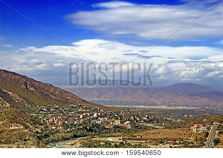 Nice view of Mtskheta and the Caucasus mountains (view from Jvari monestery), Georgia