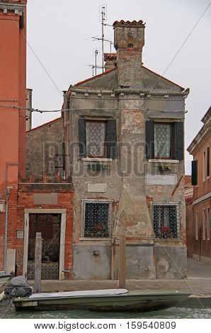 interesting two-storeyed building in Venice, the city of water