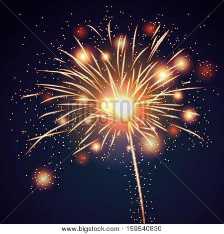 Firework bursting sparkle background. Isolated gold colorful night fire beautiful explosion for celebration holiday Christmas New Year birthday. Symbol festive anniversary Vector illustration
