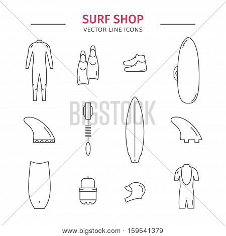 Collection of surfing goods icons. Surf shop. Line icons