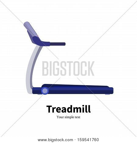 Vector illustration cartoon trainer treadmill. Picture isolated on white background. Flat style. Training apparatus running track. Icon side view, profile.