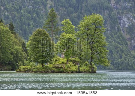 Small island in center of Koenigssee, near Berchtesgaden, Germany
