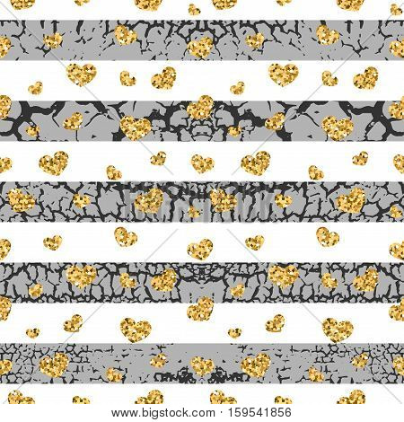 Gold grunge hearts craquelure stripes seamless pattern. Golden glitter confetti. White and black background. Love Valentine day wedding design card wallpaper wrapping textile Vector Illustration