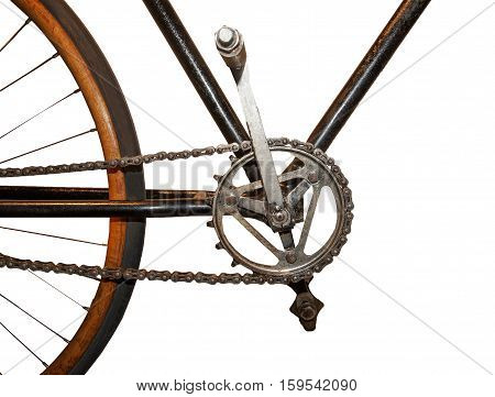 Old style chain on vintage wooden Bicycle