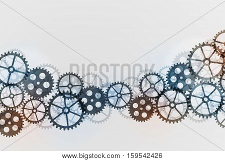Abstract technical gears background. Future gear wheel metal. Cogwheel design mechanism background Vector illustration
