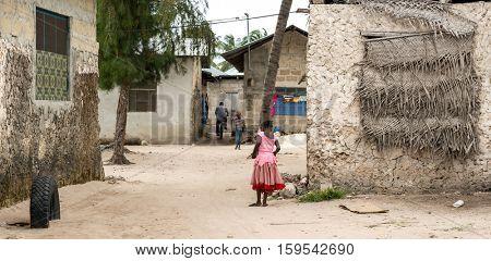 ZANZIBAR, TANZANIYA- JULY 15: simple street in african village on July 15, 2016 in Zanzibar