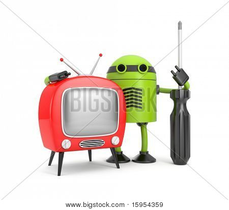 Robot with TV. Repairbot