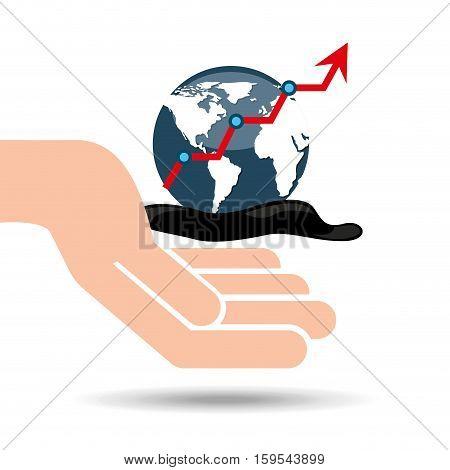 hand oil industry world upward arrow vector illustration eps 10
