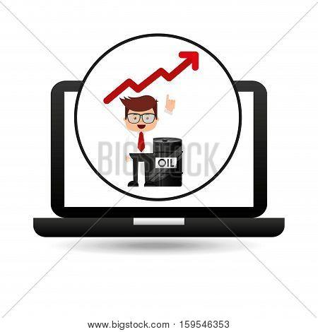 businessman oil technology barrel increasing graph vector illustration eps 10