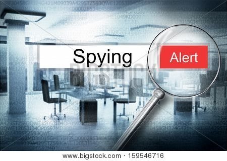 reading the word spying browser search security alert 3D Illustration