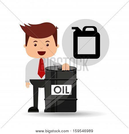 businessman oil industry barrel gallon vector illustration eps 10