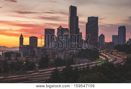 Seattle Cityscape At Sunset. Long exposure of traffic and the sky at sunset in Seattle, Washington, USA.