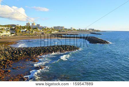 Beautiful coastal view of Costa Adeje,Tenerife,Canary Islands,Spain.