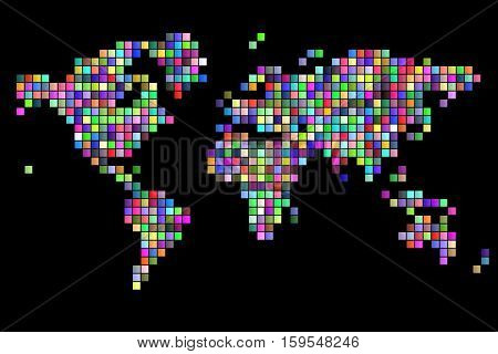 world map square pixels random colored black background