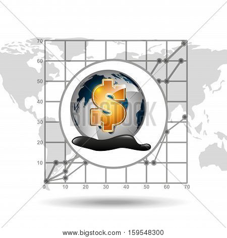 world price oil industry growth diagram background vector illustration eps 10