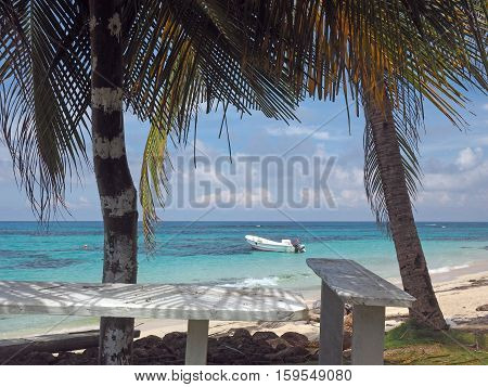 Big Corn Island Nicaragua fishing boat in Caribbean Sea Sally Peachie beach