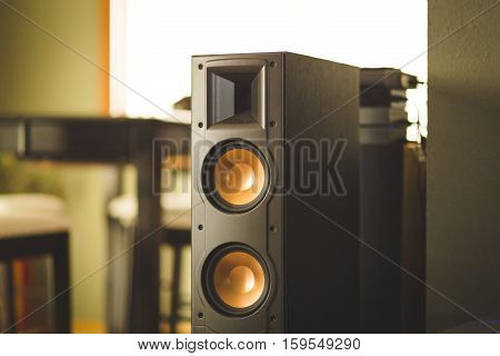 Home theater speaker in house setting. Speaker has two woofers and tweeter.