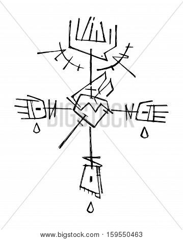 Hand drawn vector illustration or drawing of Jesus Christ Cross with different religious symbols