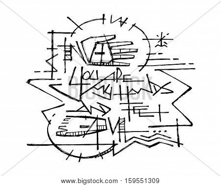 Hand drawn vector illustration or drawing of Jesus Christ at the Cross and the phrase: You are my hands and feet
