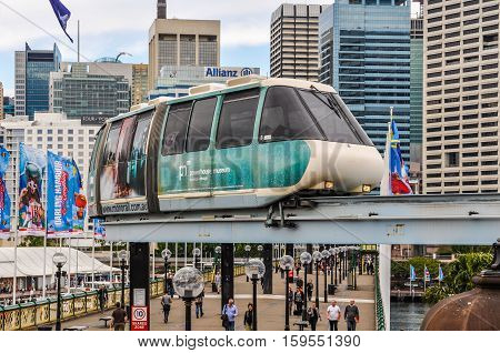 SYDNEY AUSTRALIA - AUGUST 29 2012: The futuristic sky train in Darling Harbour in Sydney Australia