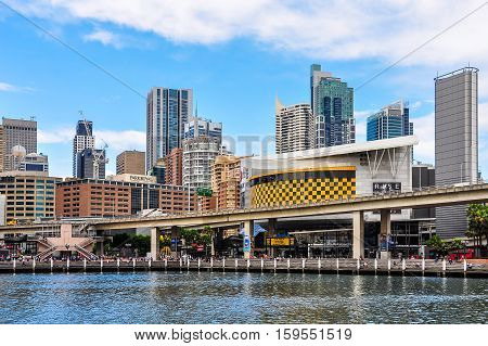 SYDNEY AUSTRALIA - AUGUST 29 2012: View of the skyscapers in Darling Harbour in Sydney Australia