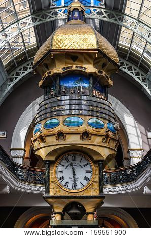 Hanging Clock In Queen Victoria Building In Sydney, Australia