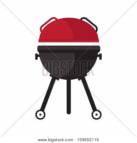 BBQ party banner grill with fire isolated on white. Kettle barbecue grill with cover. Cooking grilling summer picnic. Barbecue food hot meat party lunch device. Outdoor grill bbq equipment.