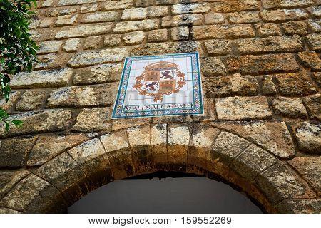 Seville patio Banderas Real alcazar arch door in Sevilla Andalusia spain