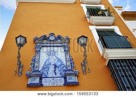 Triana barrio of Seville facades Andalusia Sevilla Spain Plaza Altozano