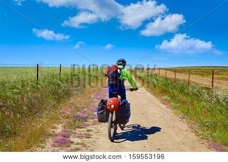 Biker at Via de la Plata way in Extremadura Spain to Santiago compostela