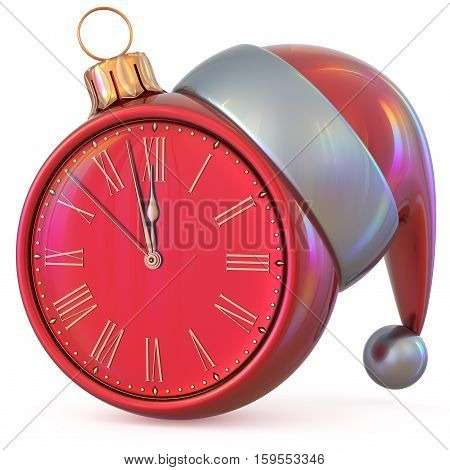 Christmas ball clock New Year's Eve midnight hour countdown time Santa Claus hat decoration ornament red adornment. Traditional happy Xmas wintertime holiday future beginning pressure. 3d illustration