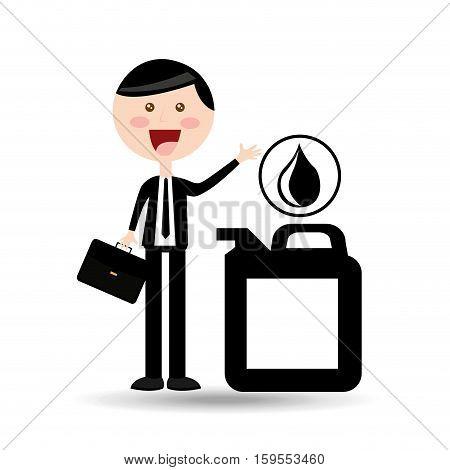 businessman oil concept gallon drop oil vector illustration eps 10