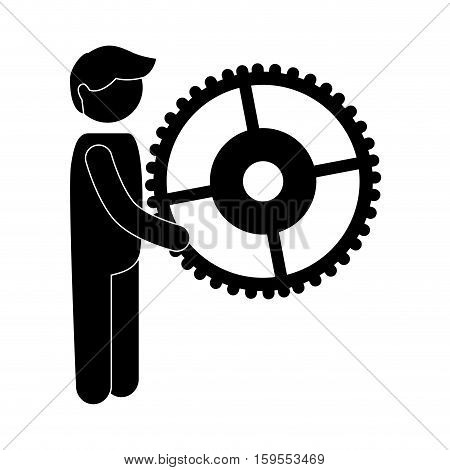avatar businessperson with gear vector illustration design