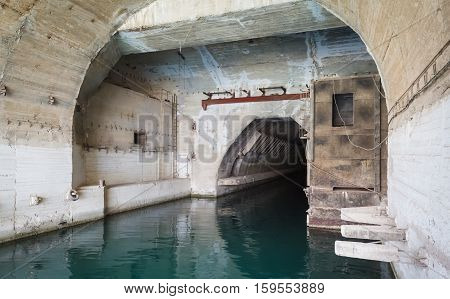 Bunker from Cold War, object an underground submarine base in Sevastopol dry dock at the underground repair factory