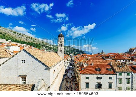 DUBROVNIK CROATIA - SEPTEMBER 22: This is a view of Dubrovnik old town center on a sunny day on September 22 2016 in Dubrovnik