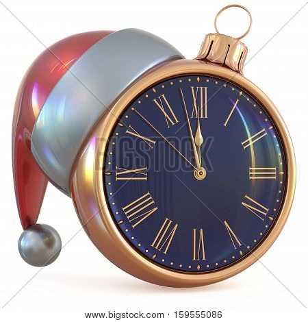 New Year's Eve midnight hour Christmas ball clock countdown time Santa Claus hat decoration ornament golden adornment. Traditional happy wintertime holiday future beginning pressure. 3d illustration