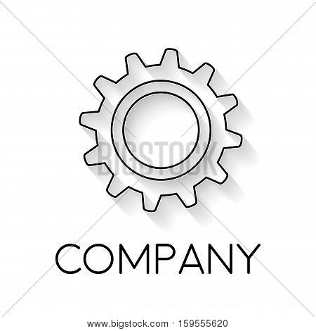 Vector sign abstract gear in linear style