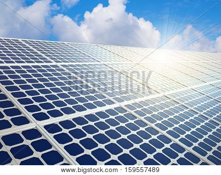 Row of solar energy panels with bright sun reflection flare background. 3D rendering.