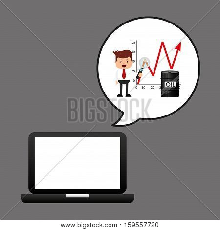 businessman oil technology barrel growth diagram vector illustration eps 10
