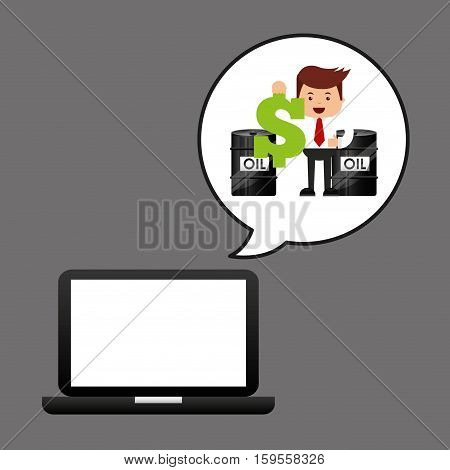businessman oil technology barrel money dollar vector illustration eps 10