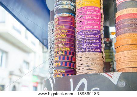 Gift Store On La Rambla Street, Barcelona, Spain.