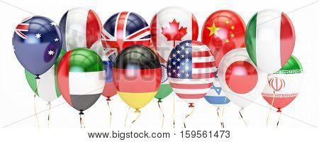 Balloons with different flags of countries holyday concept. 3D rendering isolated on white background
