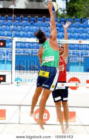 PRAGUE - JUNE 17: Ricardo Santos (BRA) in attack at SWATCH FIVB World Tour 2010 June 17, 2010 Prague