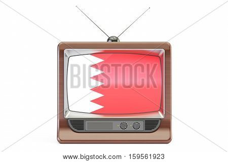 old tv with flag of Bahrain. Television concept 3D rendering