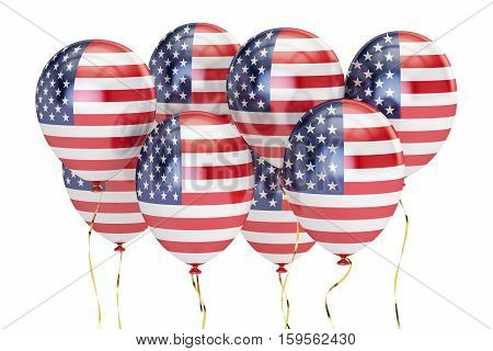 USA patriotic balloons with flag of US federal holyday concept. 3D rendering isolated on white background