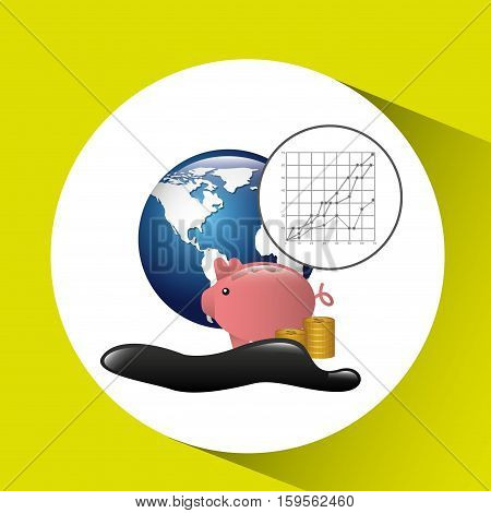 world piggy oil industry growth diagram background vector illustration eps 10