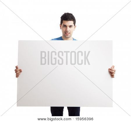 Portrait of a young man showing an empty billboard on white background poster