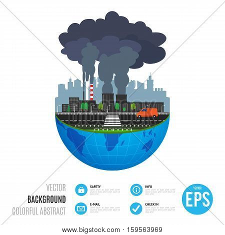 Industry earth concept. Vector illustration for global industrial. Flat cartoon. World factory on white background. Plant isolated. Smoke, smog production. Pollution manufacturing sign.