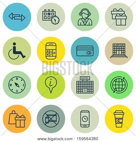 Set Of Traveling Icons On Forbidden Mobile, Takeaway Coffee And Shopping Topics. Editable Vector Illustration. Includes Paralyzed, Debit, Arrows And More Vector Icons.